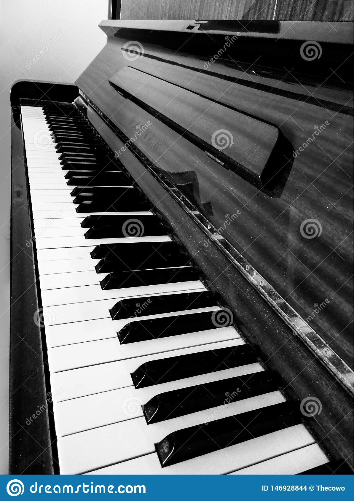 Black and white perspective of a piano in beautiful composition