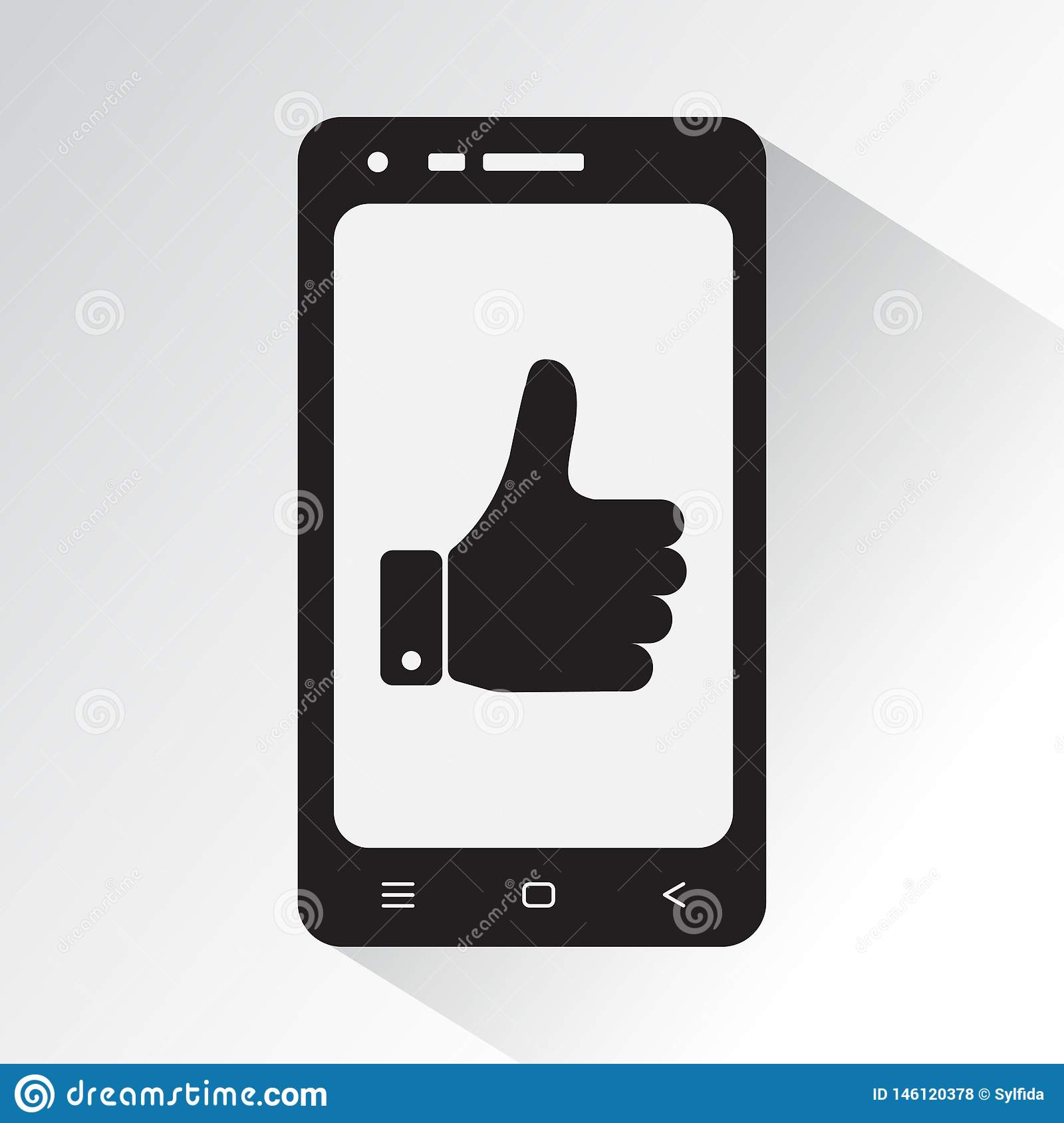 Black and white phone with symbol thumb up. Flat icon of smartphone. Vector