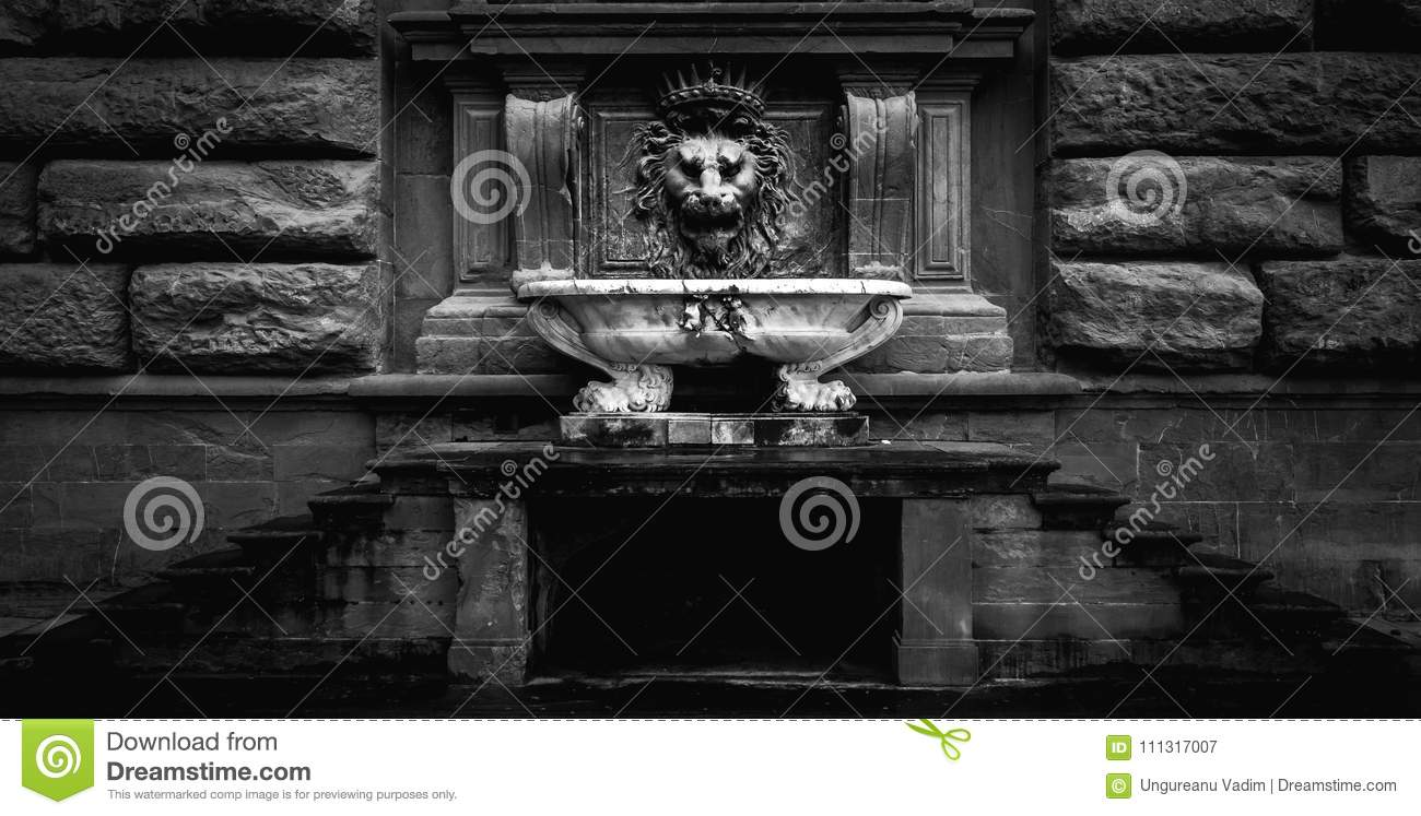 Lions Fountain Florence.Black And White Photo Of A Florence Lion Fountain Stock