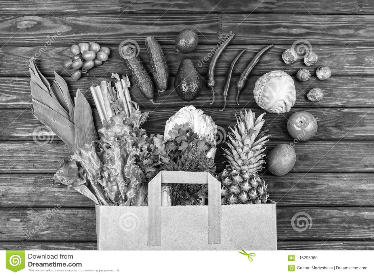 Black and white photo healthy food grocery shopping vegetable