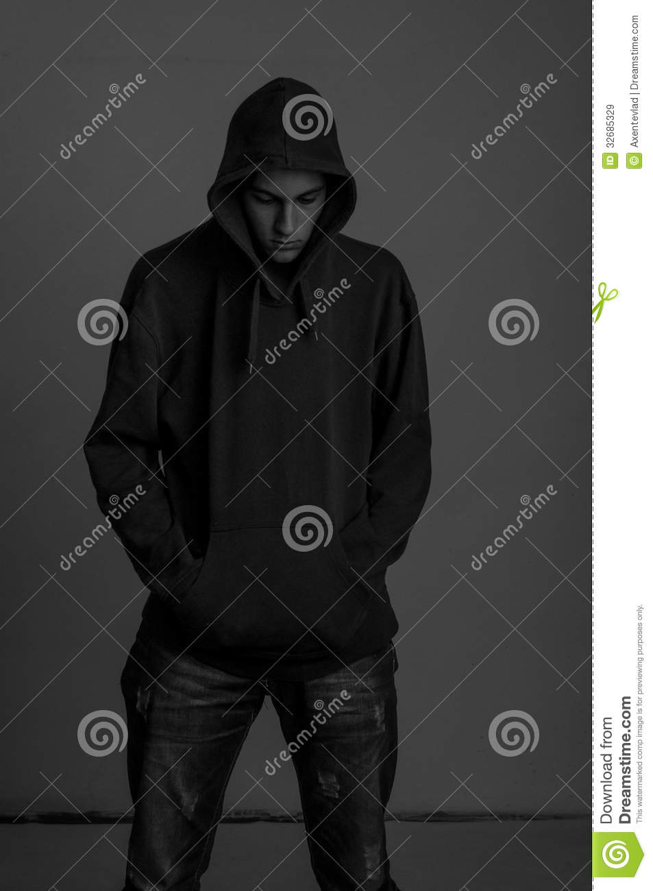 Black And White Photo Of Upsed Teenager With Hoodie