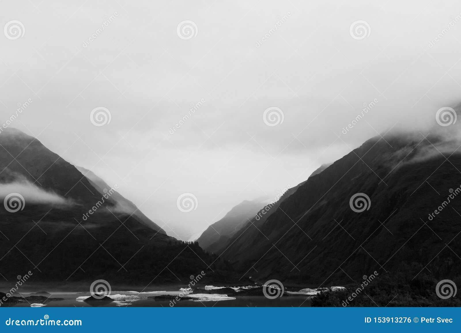 Valdez Glacier Lake and valley in Alaska