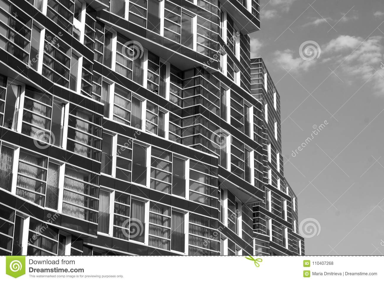 Black and white photograph of a building lots of windows
