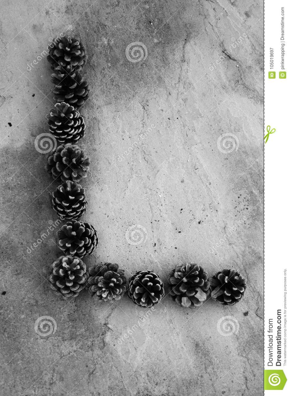Black And White Letter L Made Out Of Pine Cones Stock Image