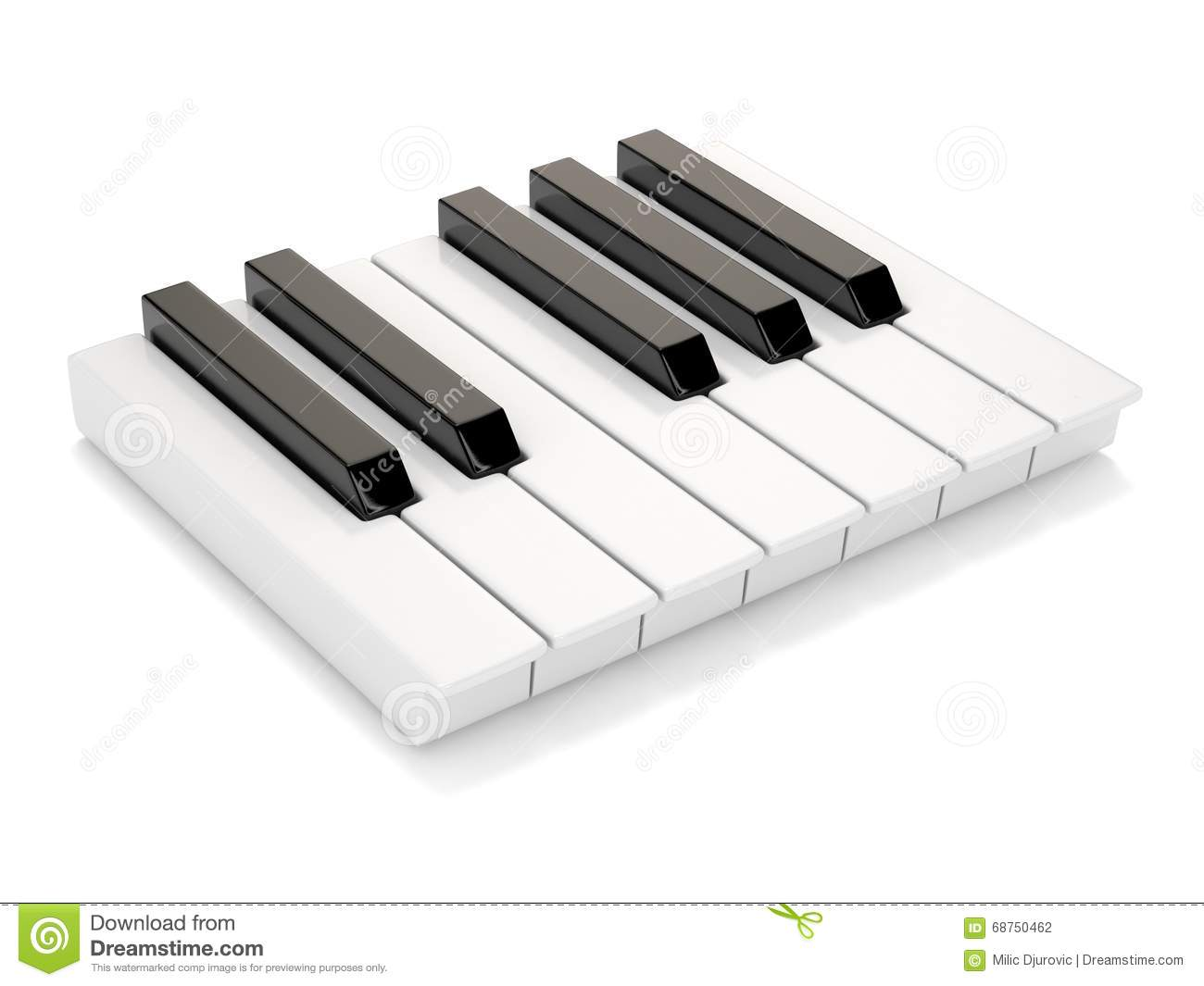 Black and white piano keys one octave 3d stock illustration image 68750462 for Yamaha 3 octave keyboard