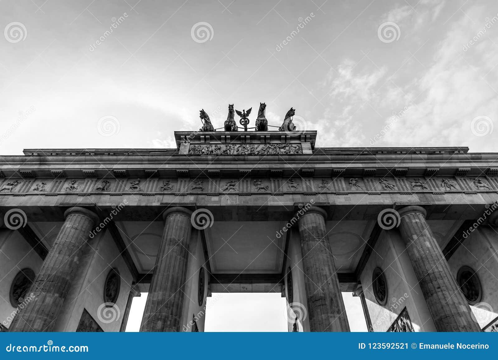 Black and white picture of the Brandenburg Gate, Berlin; Germany. Detail The Brandenburg Gate quadriga. Pariser Platz.