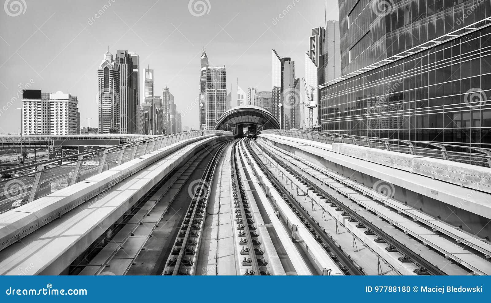Black and white picture of dubai city uae