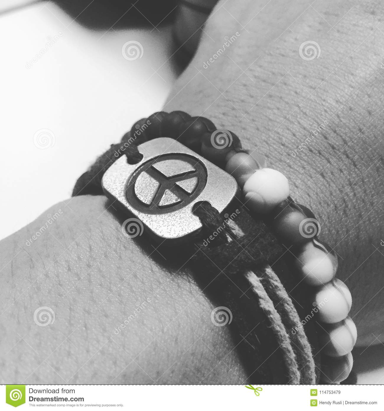 Black And White Peace Bracelet