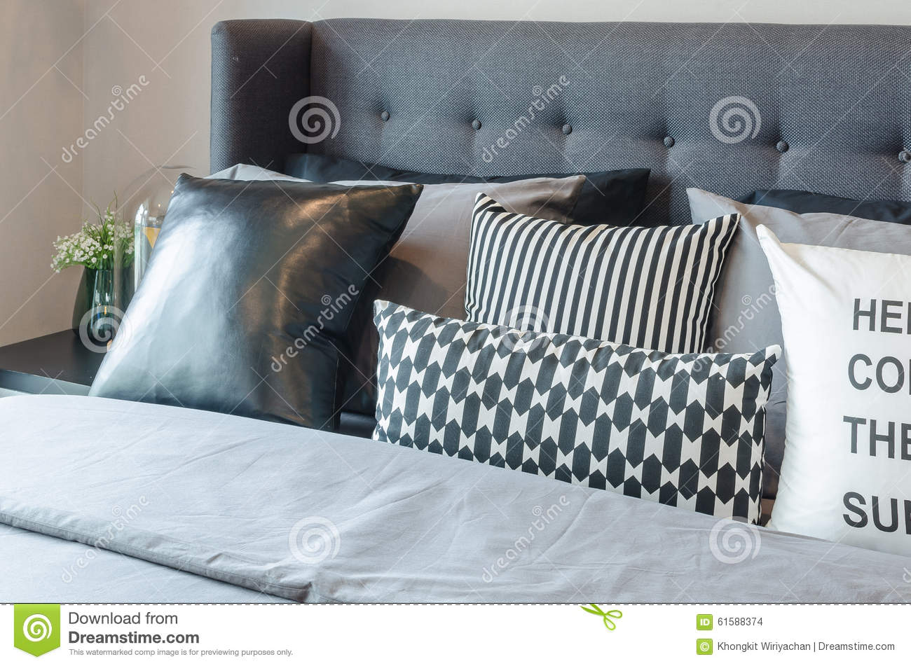 Black And White Pillows On Modern Bed Stock Photo - Image: 61588374