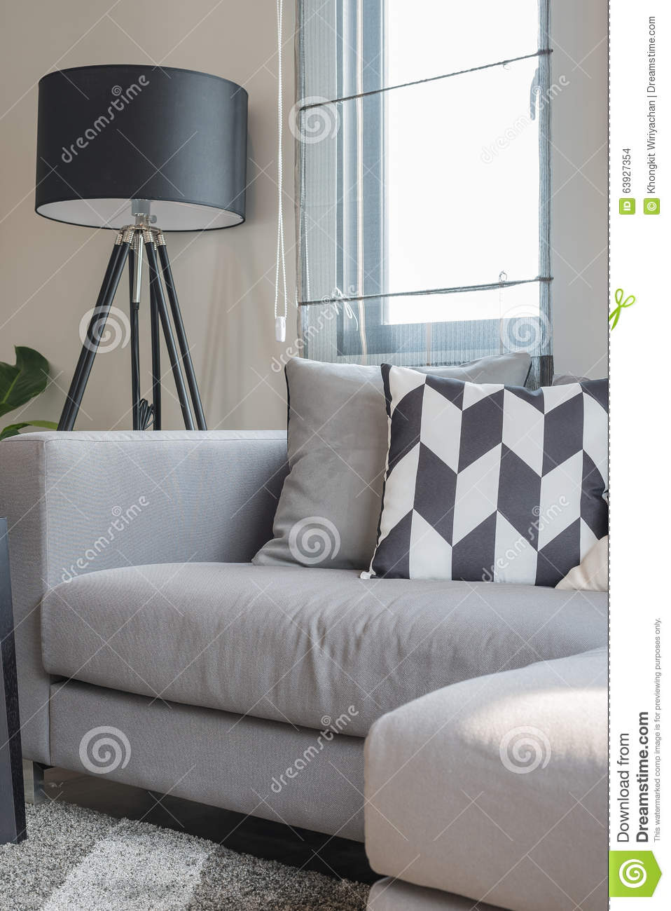Black And White Pillows On Modern Grey Sofa Stock Photo Image 63927354
