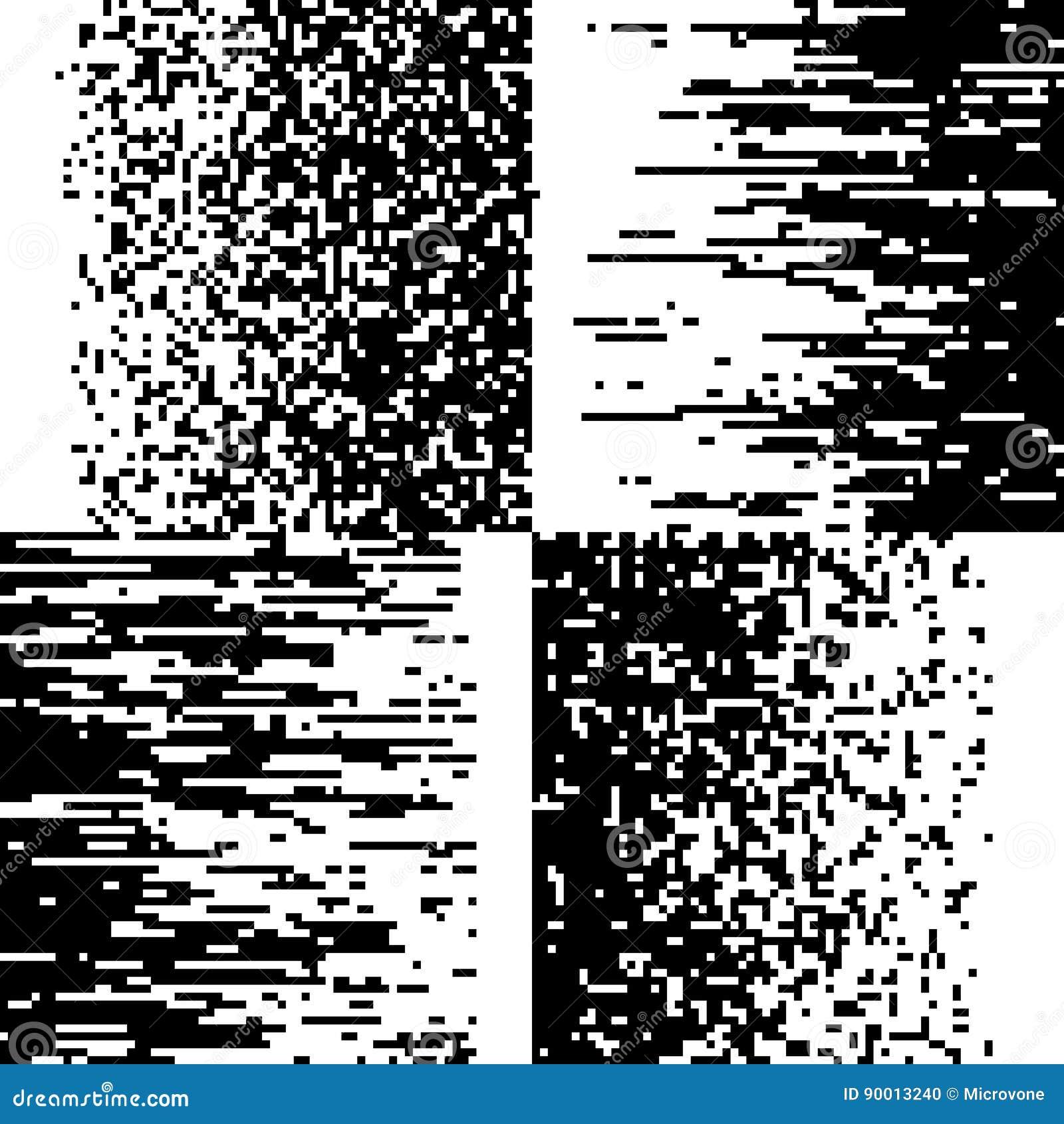 Black And White Pixelation, Pixel Gradient Mosaic