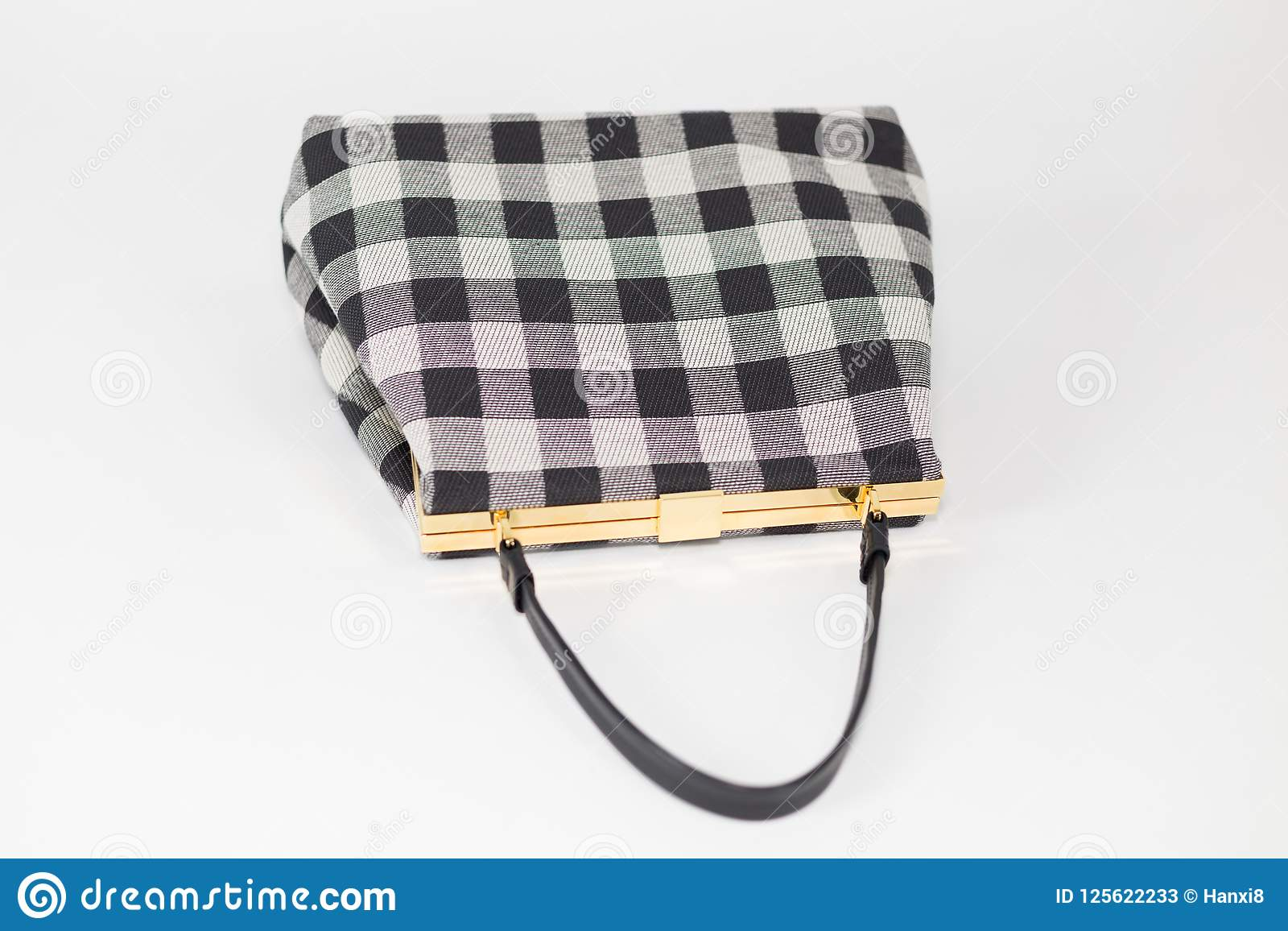 24b67f75073a Black And White Plaid Checkered Pattern Handbag Closeup Stock ...