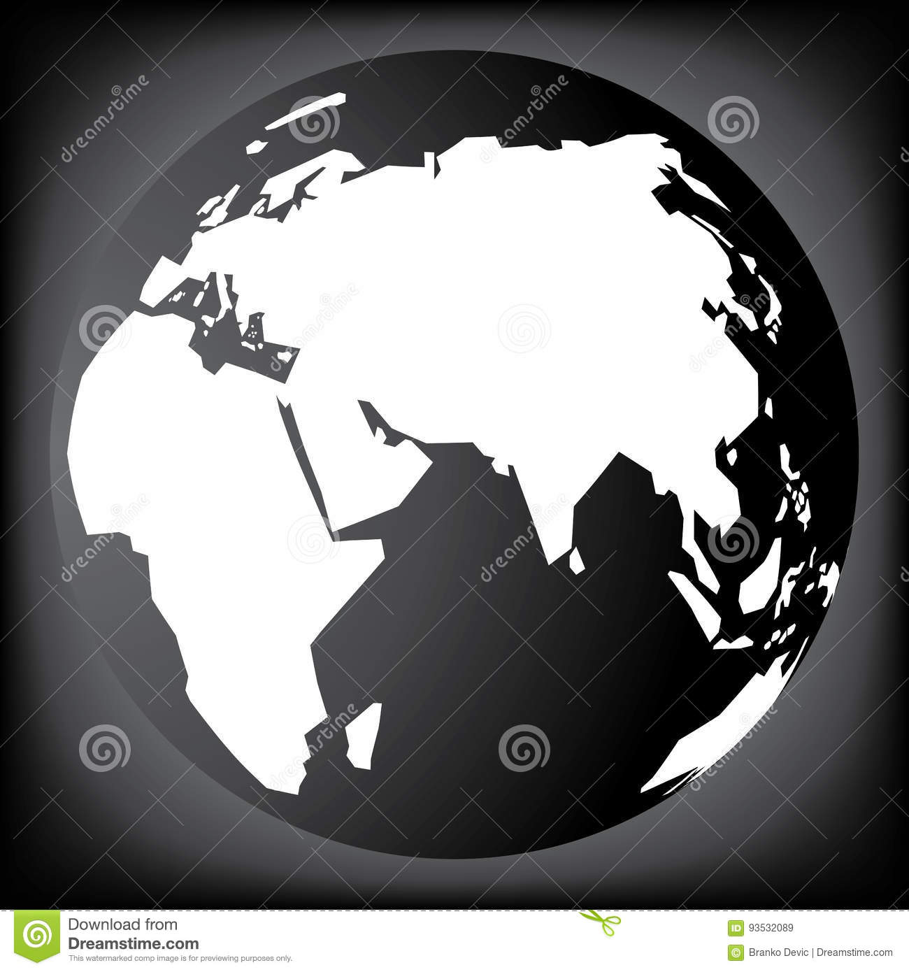 Black and white planet earth