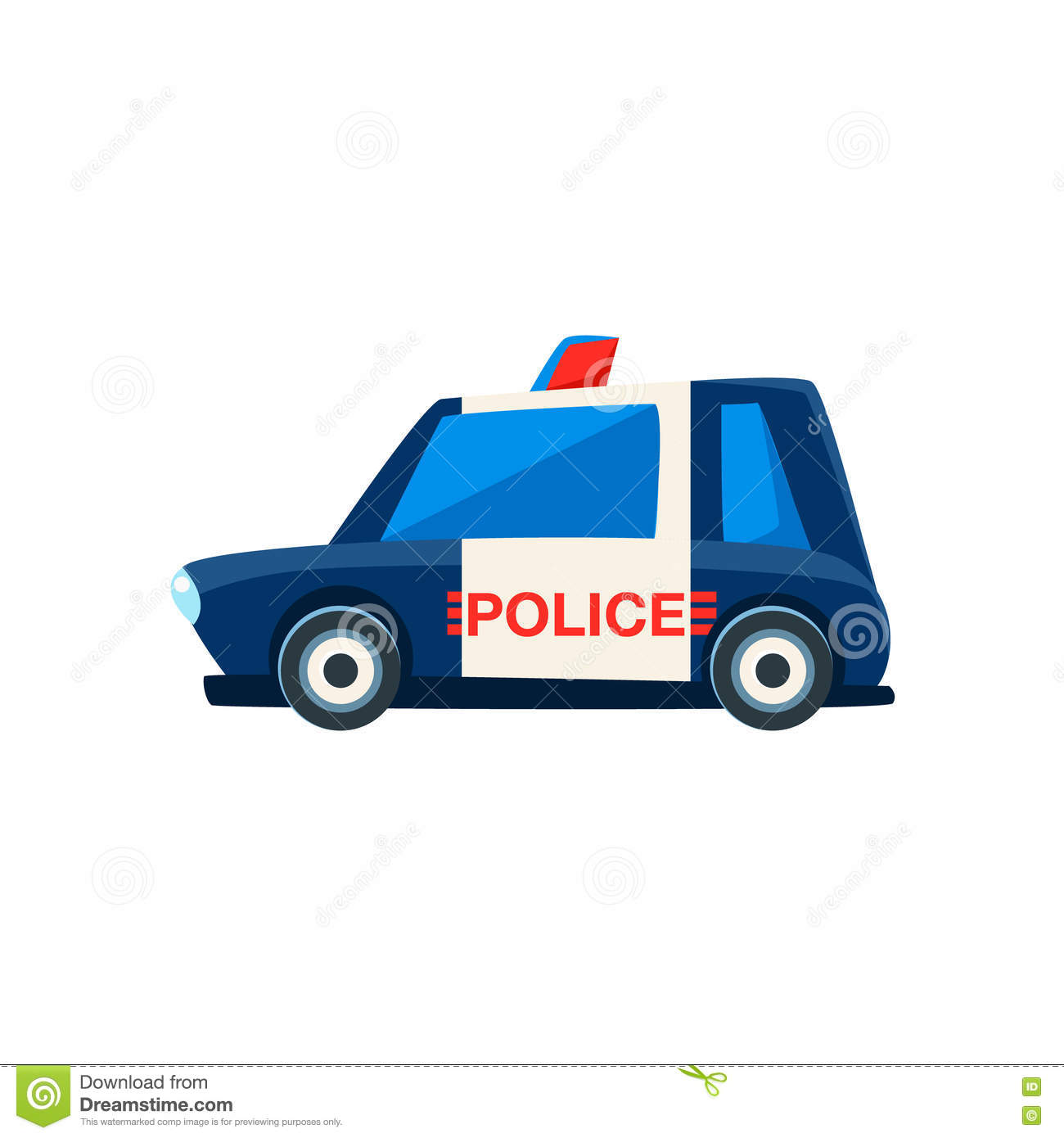 Black And White Police Toy Cute Car Icon Stock Vector Illustration