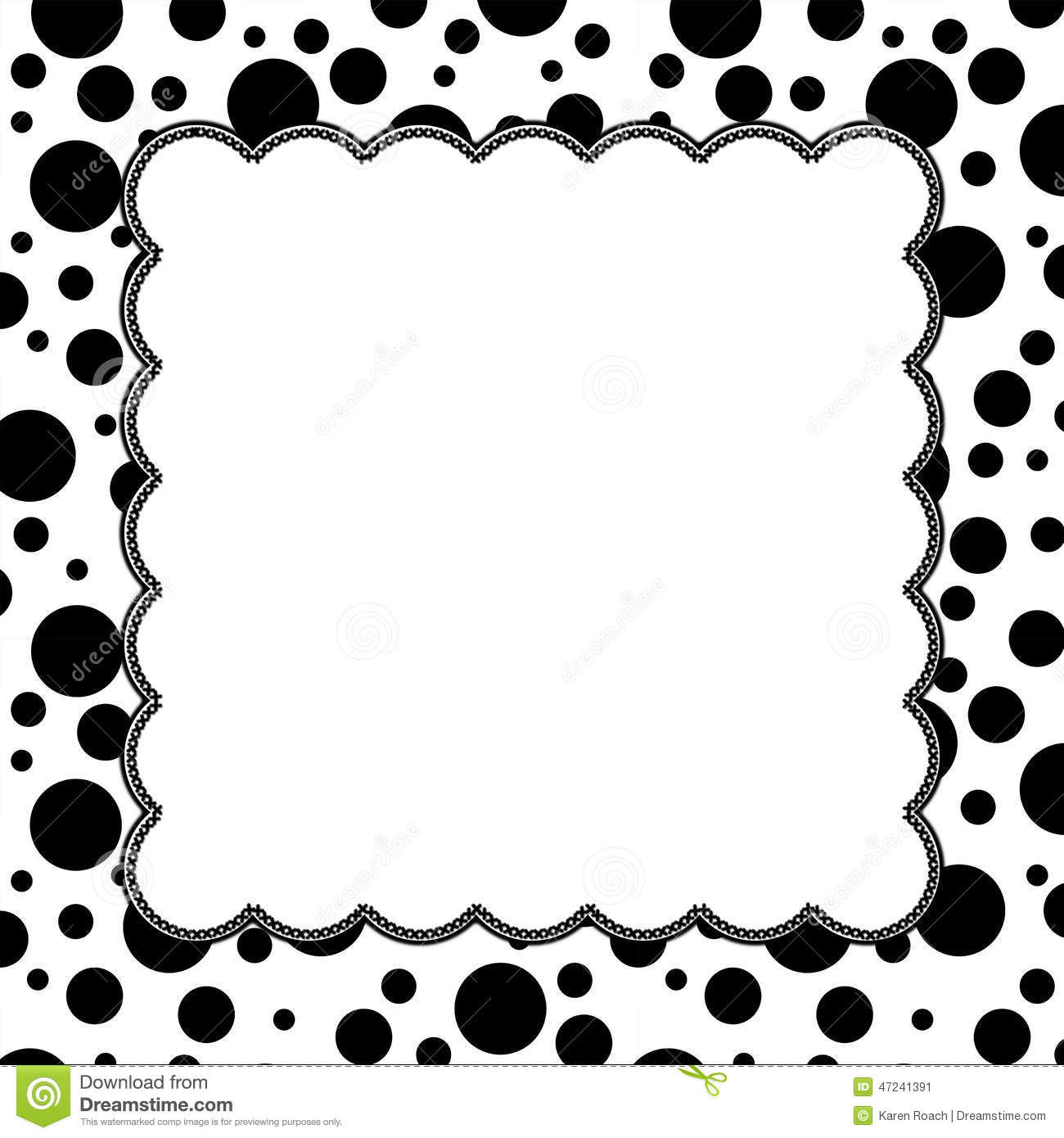 Black and white polka dot background with embroidery with center for