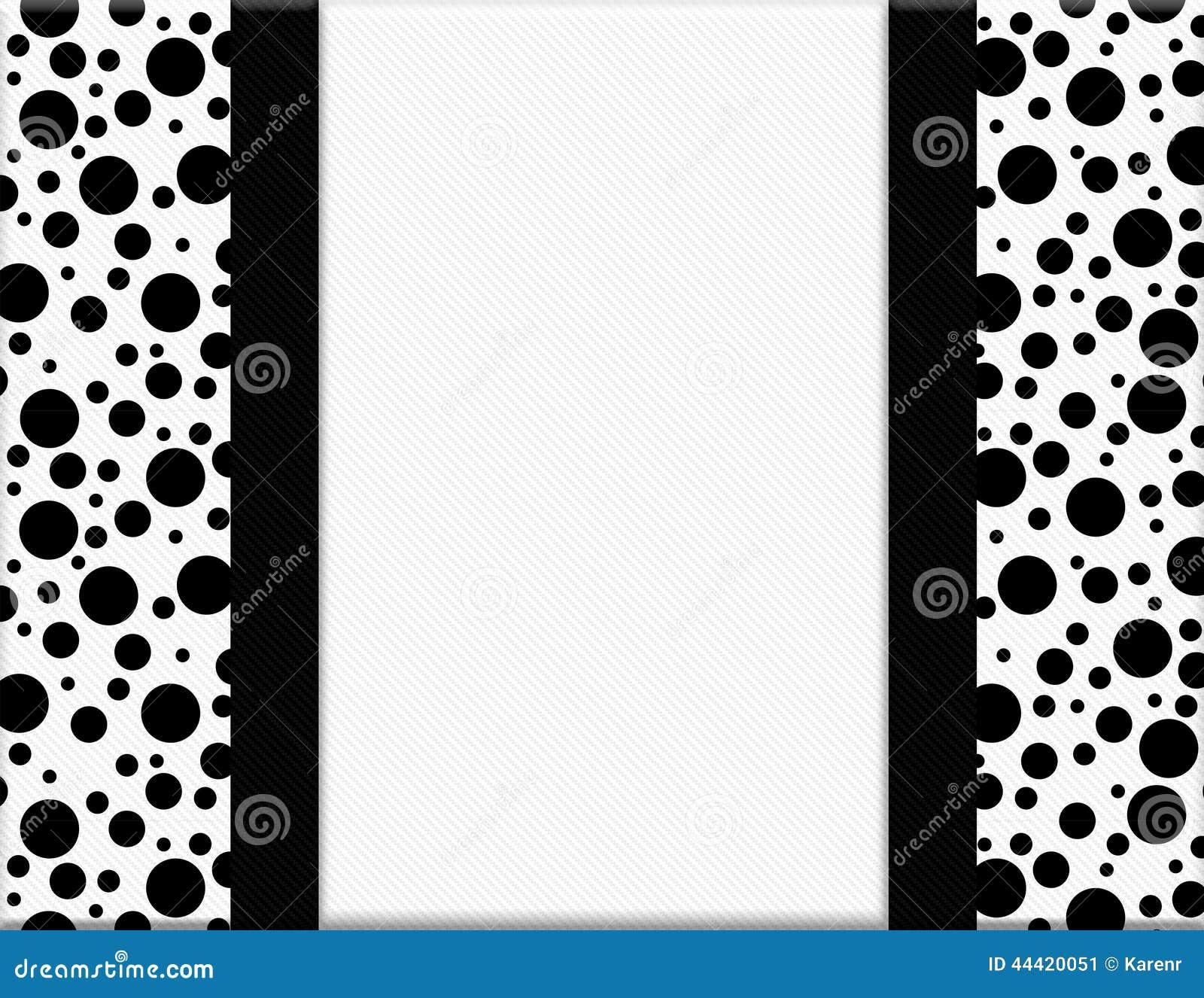 Black And White Polka Dot Frame With Ribbon Background Illustration ...