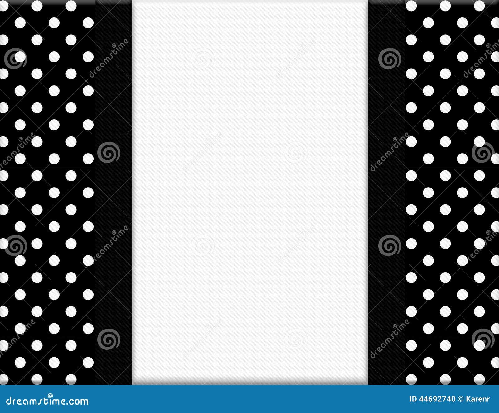 Black And White Polka Dot Frame With Ribbon Background Stock Photo ...
