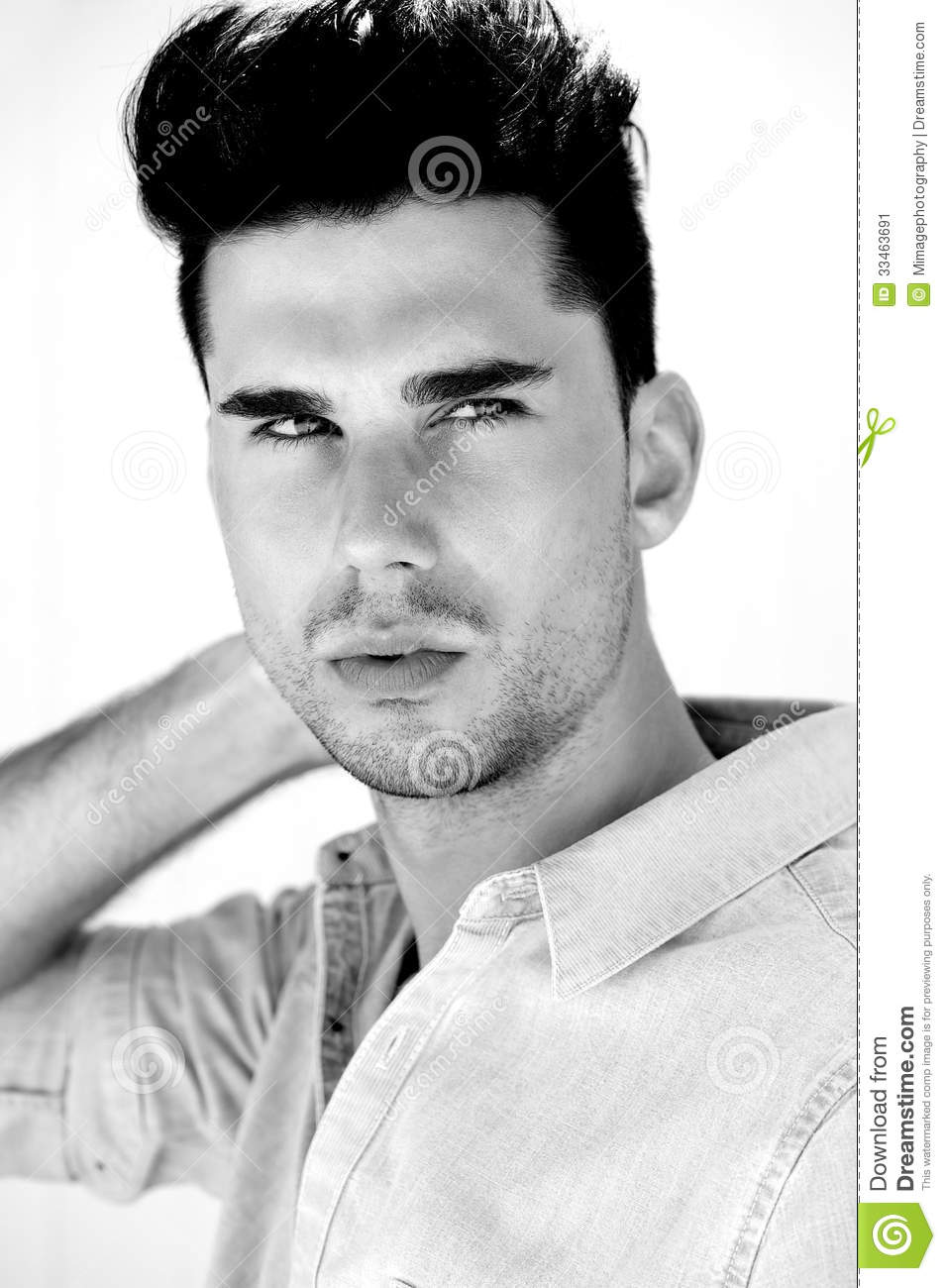 Awe Inspiring Black And White Portrait Of An Attractive Male Fashion Model Stock Hairstyles For Women Draintrainus