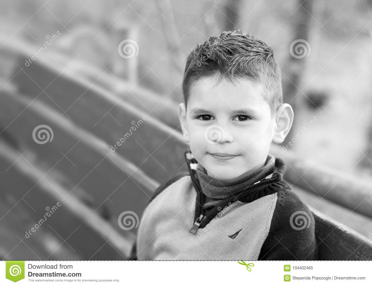 Black And White Portrait Of A Beautiful Boy Cute Little Boy Is Stock Image Image Of Looking Head 104402465