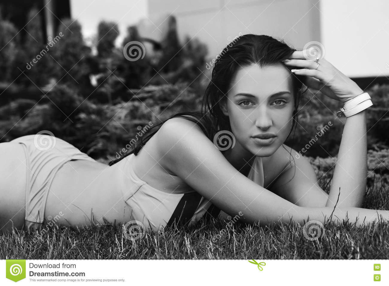 Black and white portrait of a beautiful caucasian woman