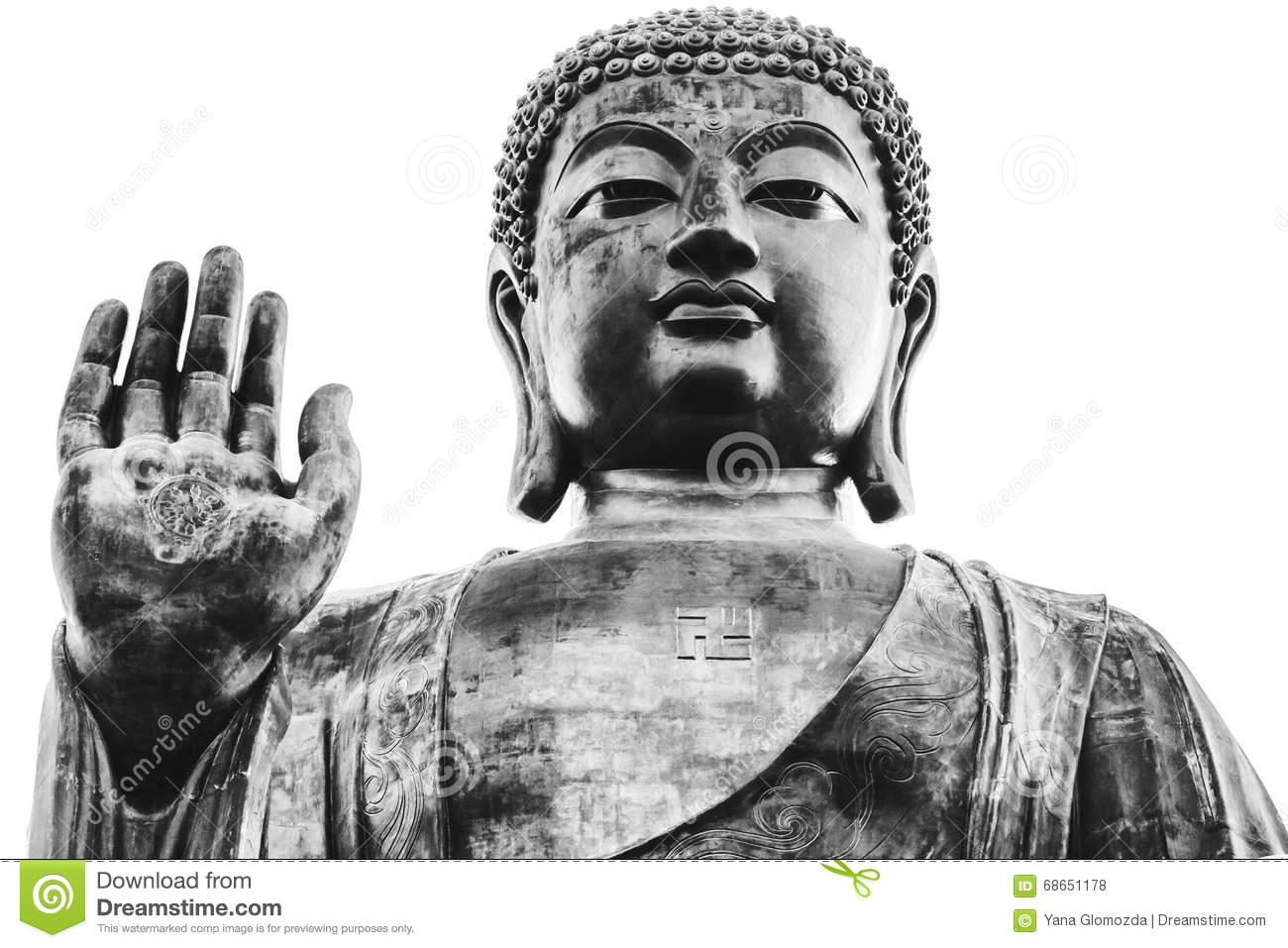 Black and white portrait of big buddha