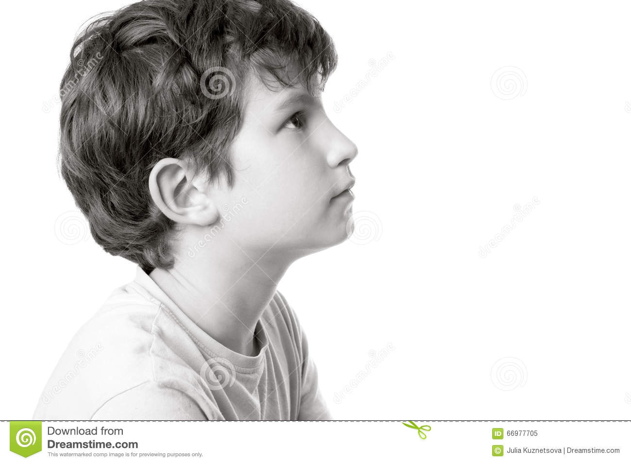 Black and white portrait of a boy in profile stock image image of