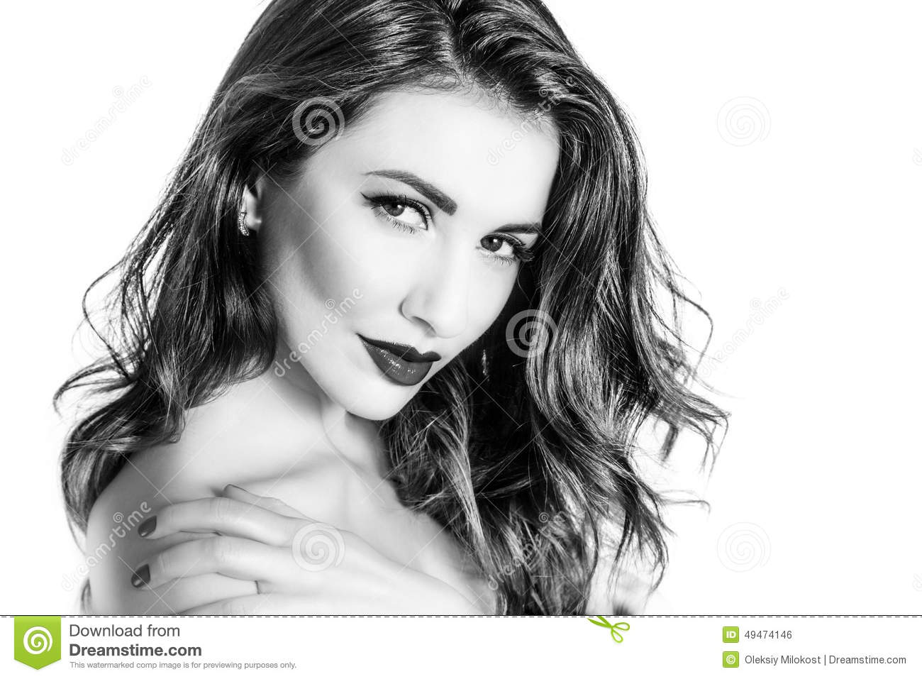 Black and white portrait of cute woman touching shoulder closeup