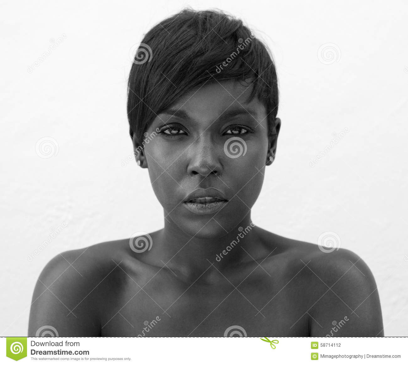 Black and white portrait of elegant african american woman