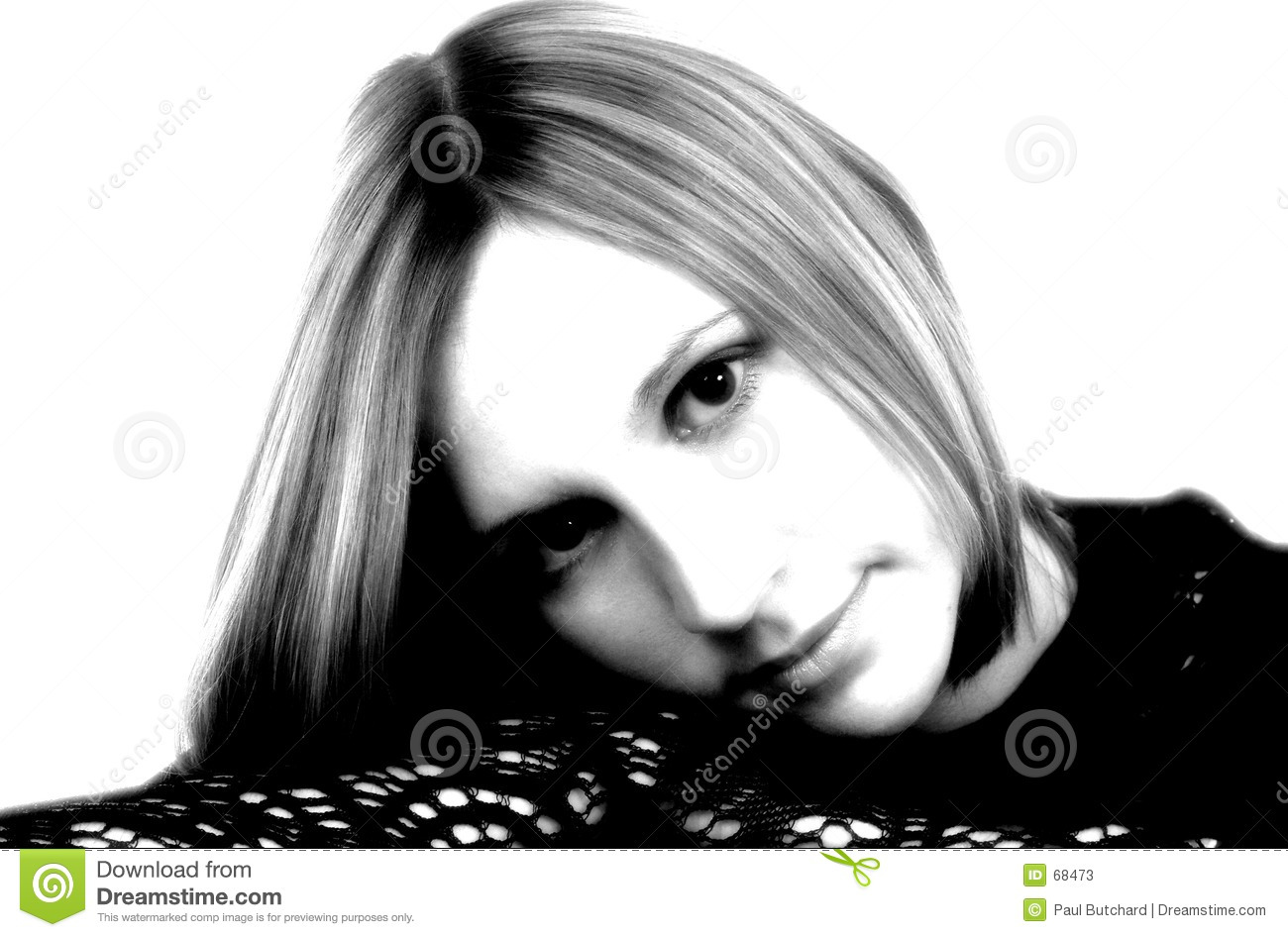 Black white portrait with high contrast