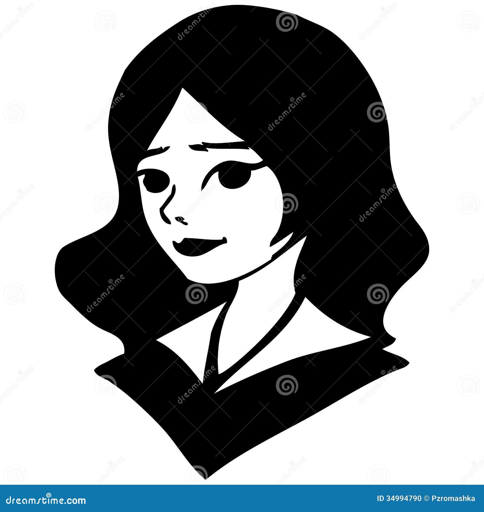 Простые черно-белые рисунки девушек