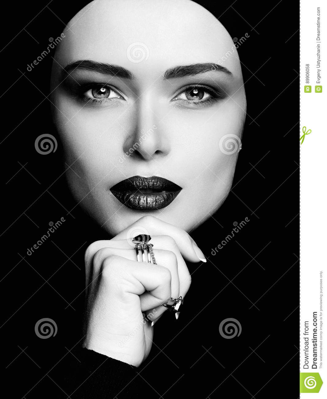 Black and white portrait of beautiful woman in hijab pretty young muslim woman face cosmetics concept