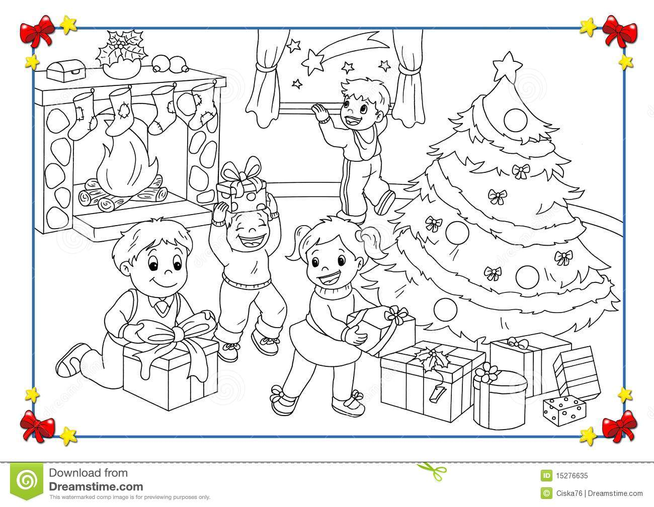 Black And White Poster Of Christmas Stock Illustration ...