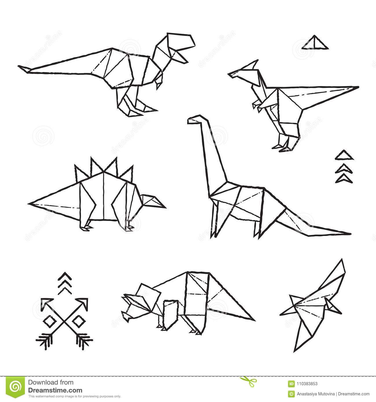 Ink Origami Tattoos Dinosaurs Set Vector Illustration Stock