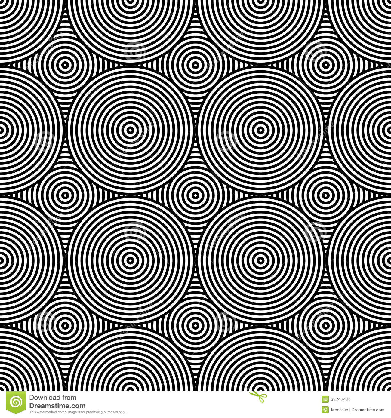 Black And White Psychedelic Circular Textile Stock Photo