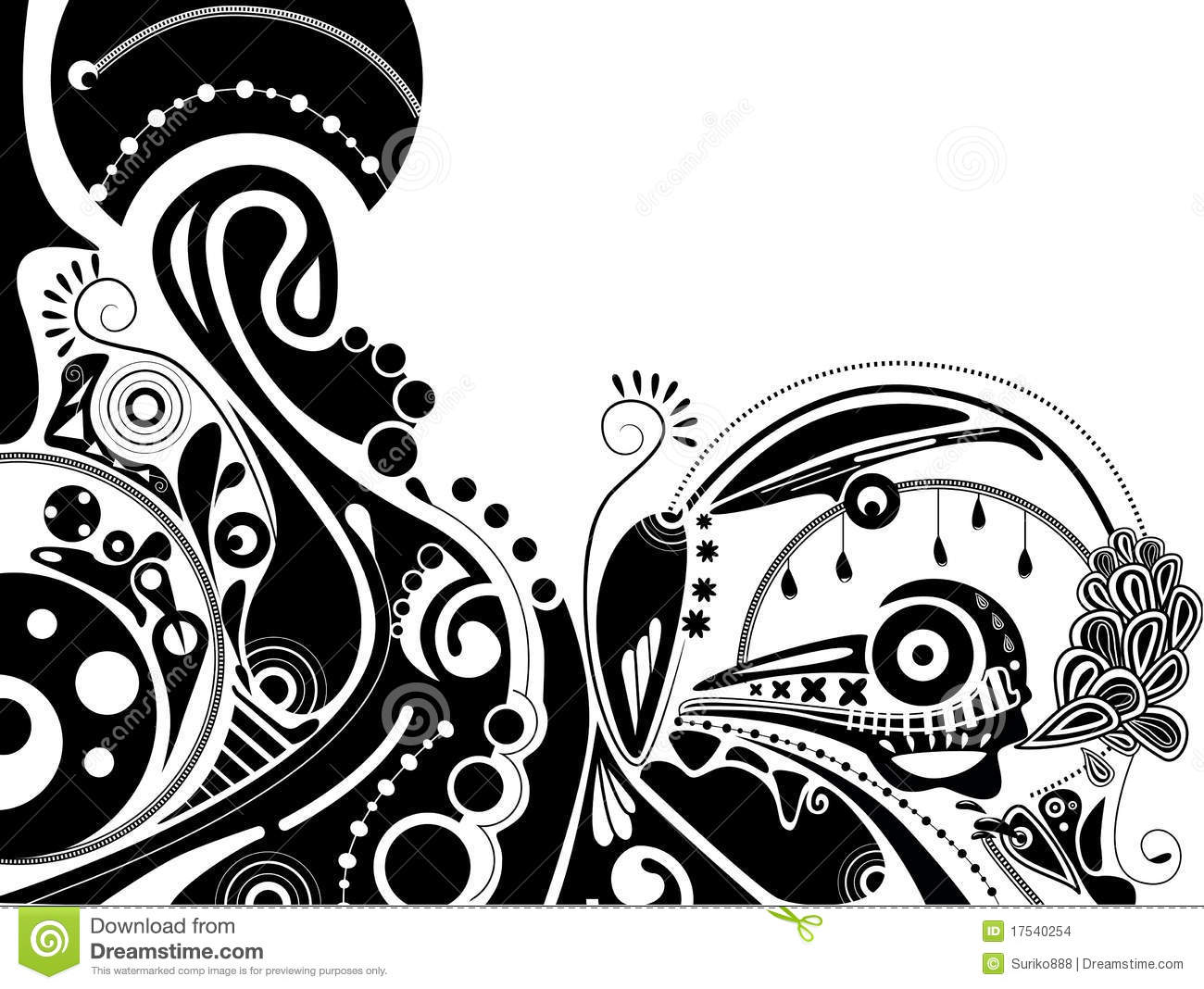 White And Black Illustration: Black-and-white Psychedelic Illustration Stock Images