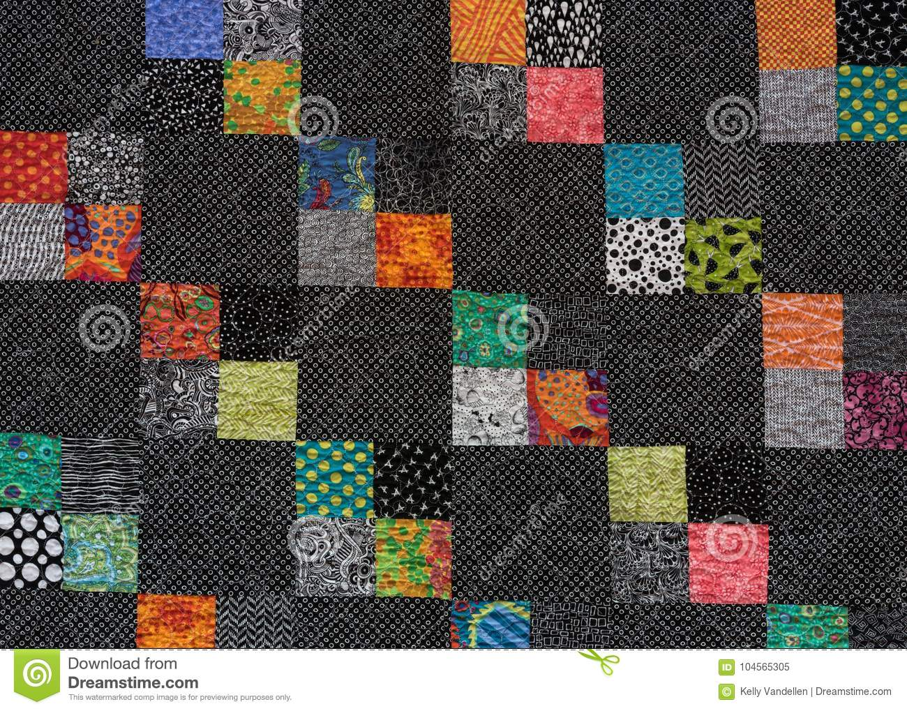 Black And White Quilt With Squares Of Color Stock Image Image Of Stitched Crafts 104565305