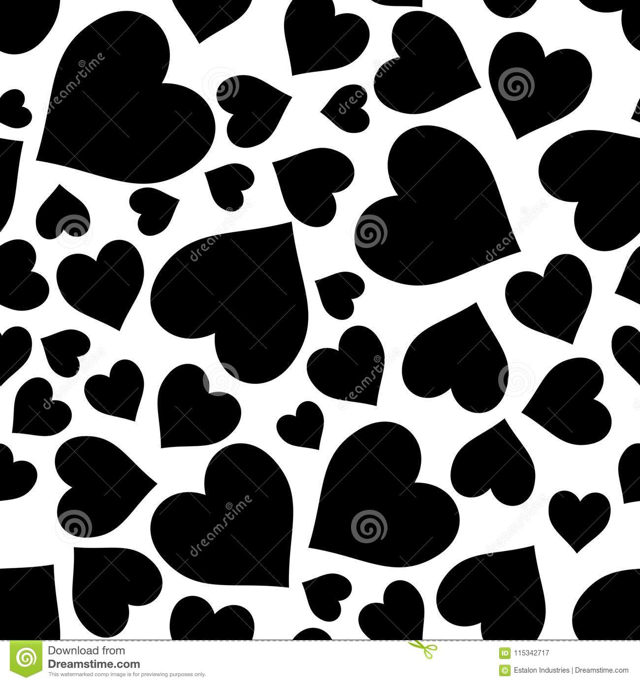 Black On White Random Love Heart Pattern Seamless Repeat Background Stock Illustration Illustration Of Giraffe Canes 115342717