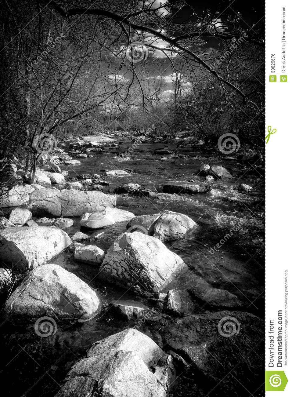 Photos Of Small Living Rooms Decorated: Black And White Rapids Of A Small Stream Royalty Free