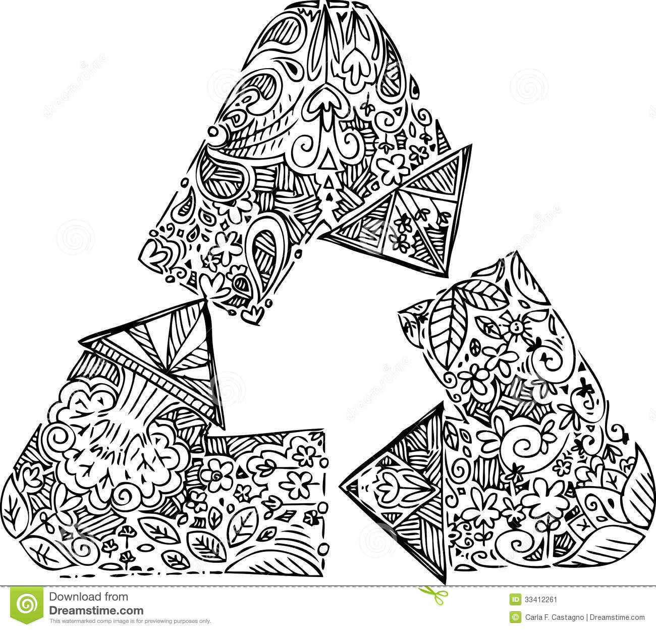 Coloring Recycle Arrows Stock Image
