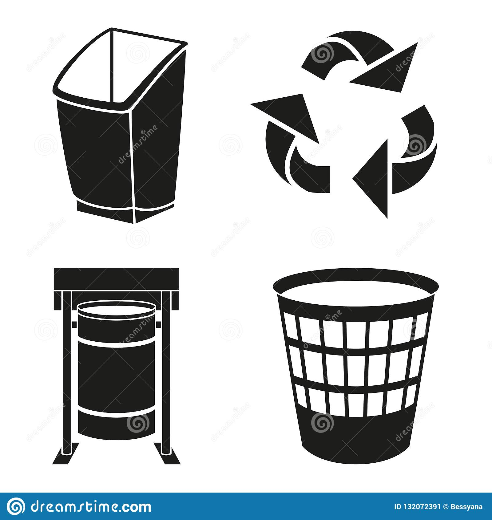 picture regarding Trash Sign Printable called Black And White Recycling Rubbish Silhouette Fixed Inventory