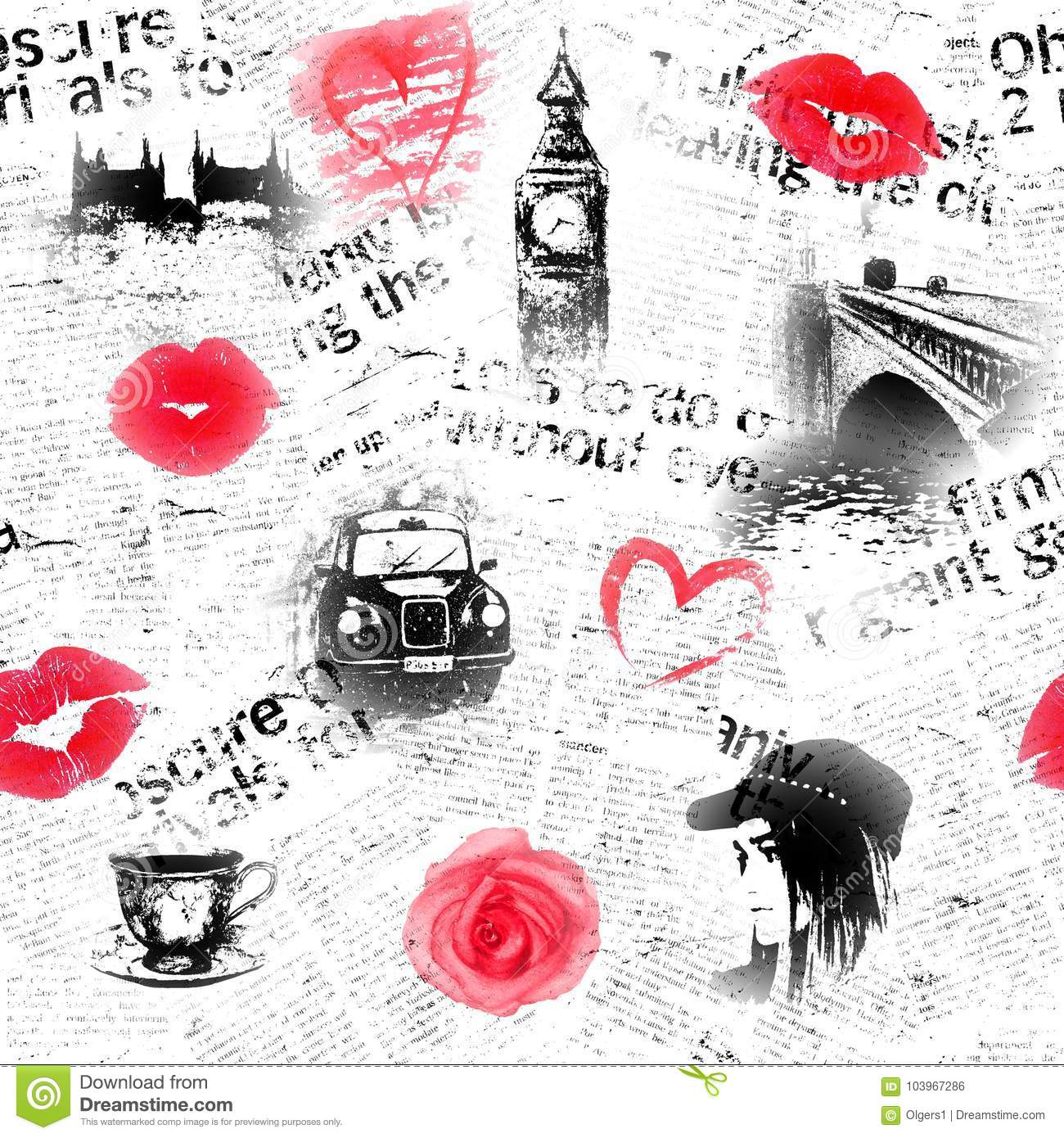 Black White And Red London Background Stock Illustration