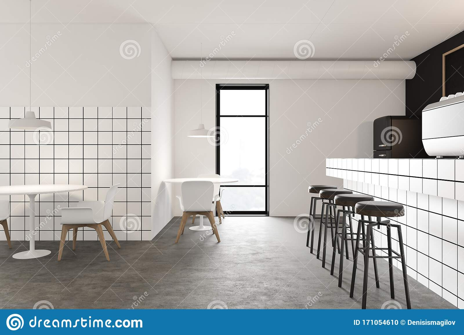 Black And White Restaurant Interior With Bar Stock Illustration Illustration Of Decoration Brasserie 171054610
