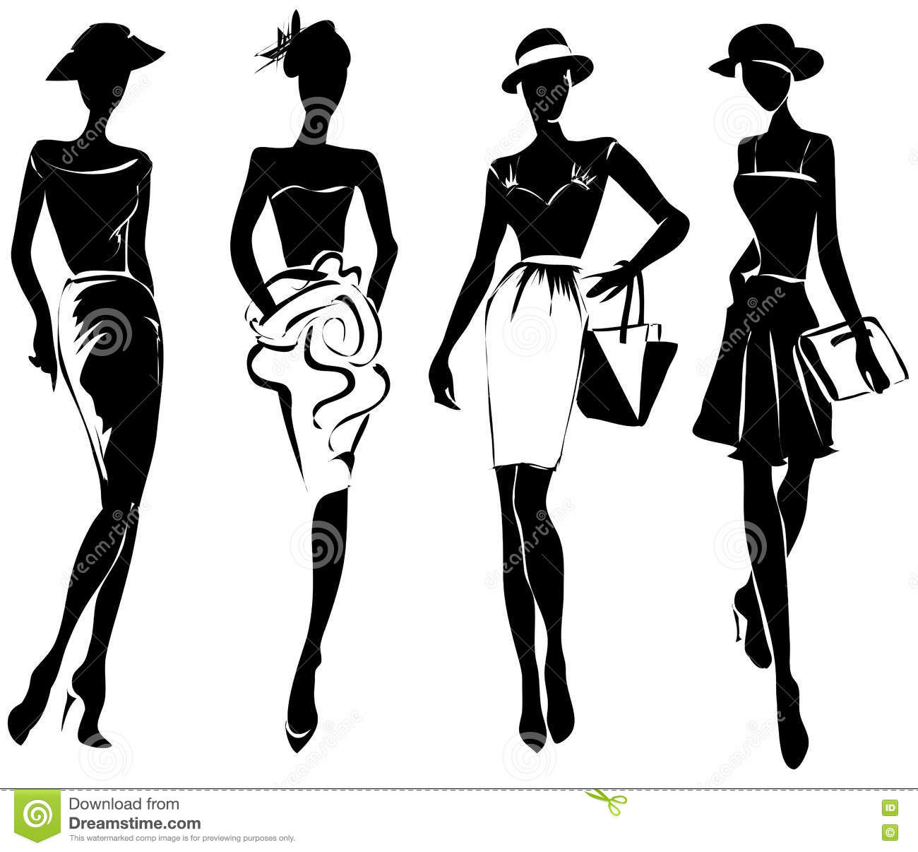 Black Fashion Models Poses: Black And White Retro Fashion Models In Sketch Style Stock