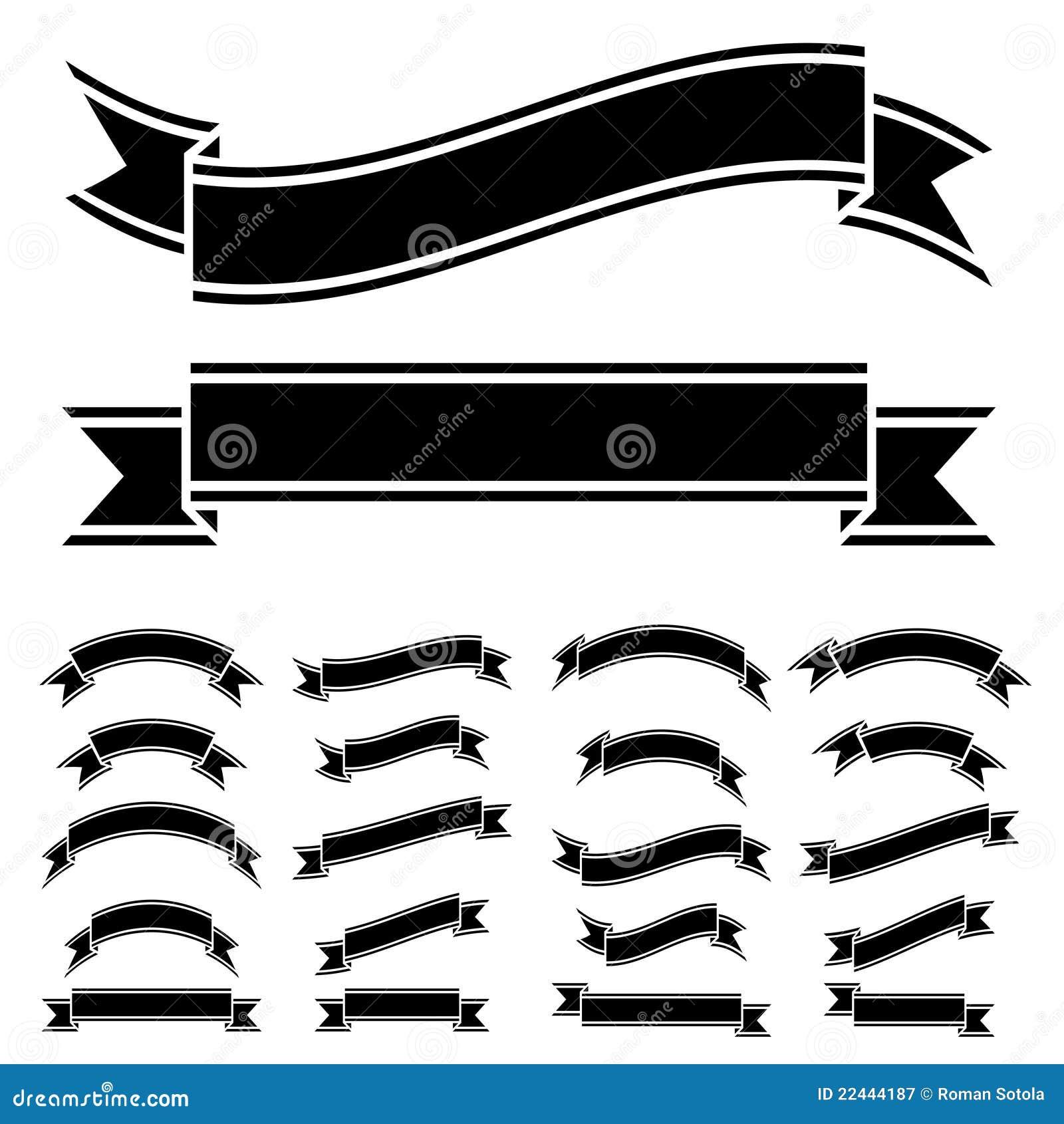 Black And White Ribbon Symbols Royalty Free Stock Photography - Image ...