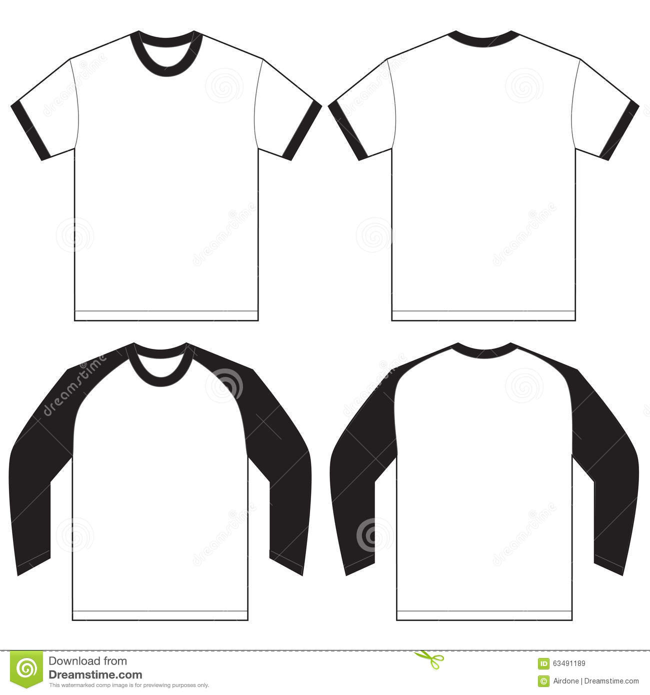 Black white ringer t shirt design template stock vector for Blank t shirt design template