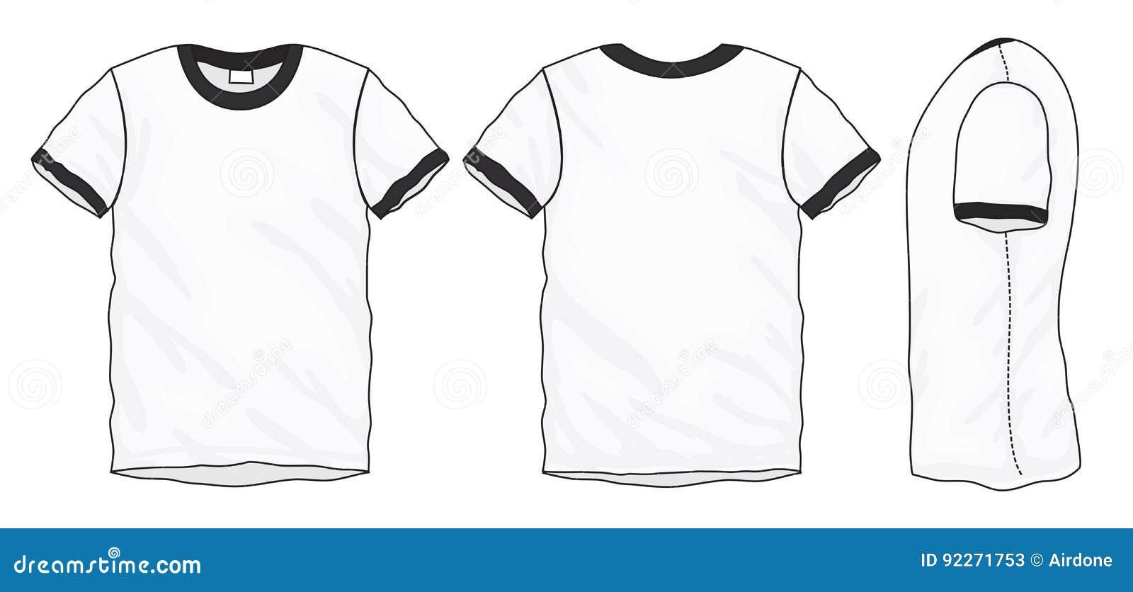 black white ringer t shirt design template stock vector