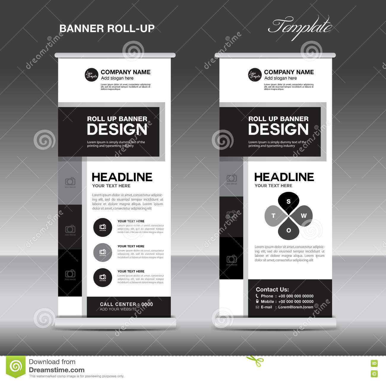 Black And White Roll Up Banner Template And Info Graphics