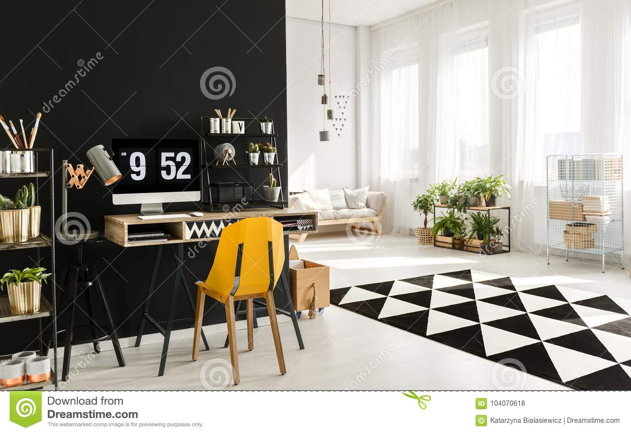 Black and white room stock photo. Image of graphic, interior ...