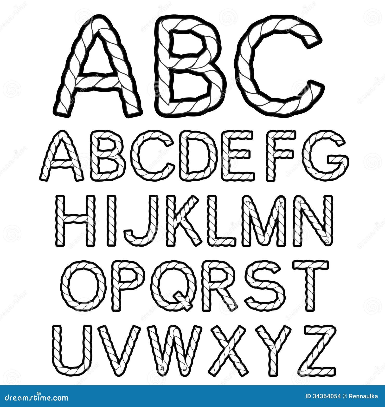 Black White Rope Font Alphabet Stock Images Image 34364054