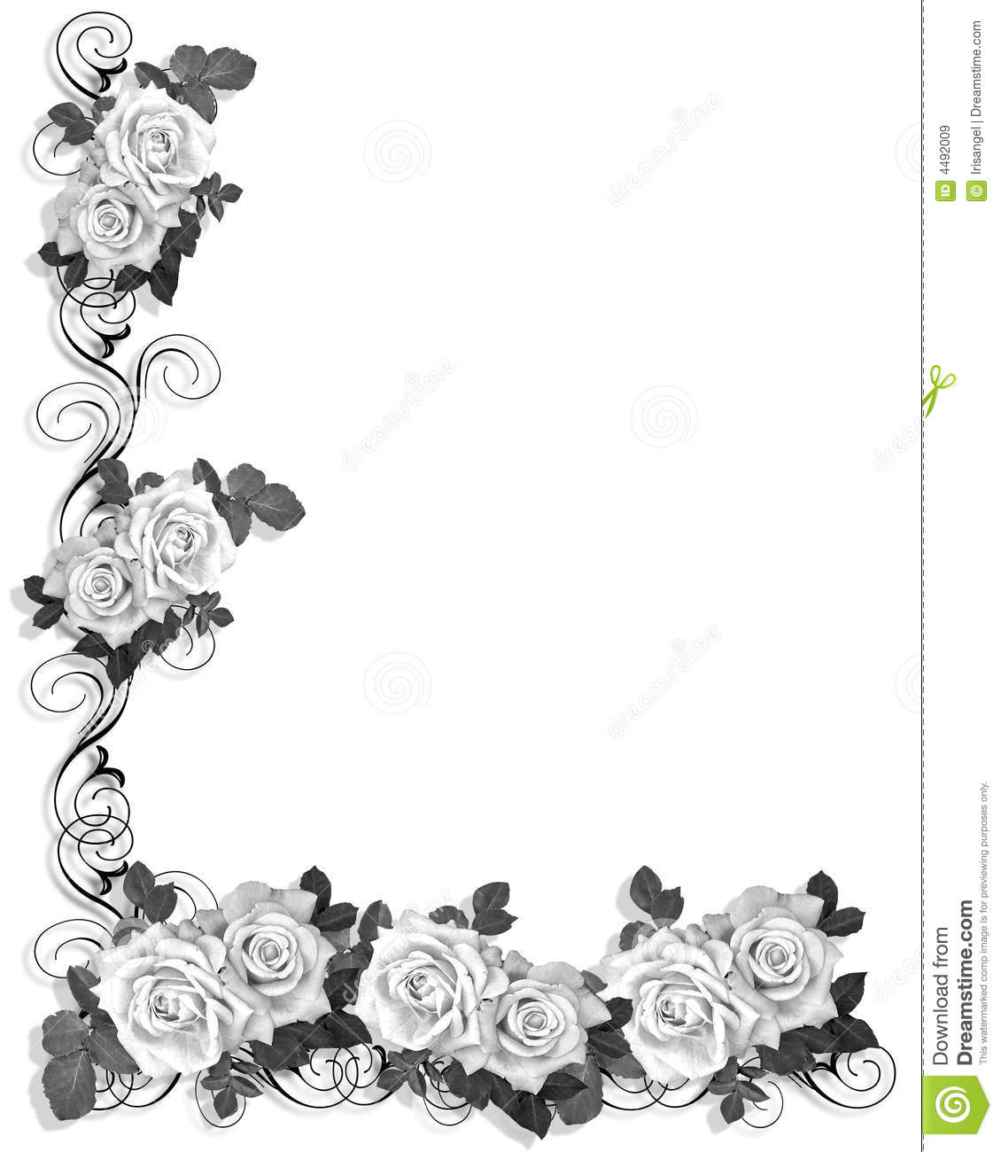 Black And White Roses Border Design Stock Illustration